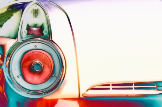 Taillight of an antique car : Stock Photo