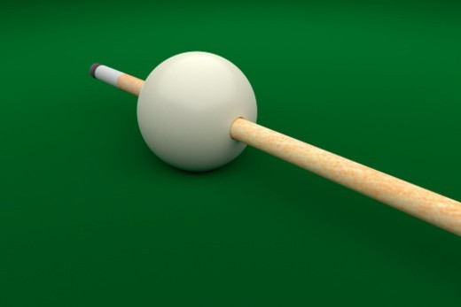 Stock Photo: 1672R-57193 Cue Stick extending through hole in Cue Ball (Digitally Generated Image)
