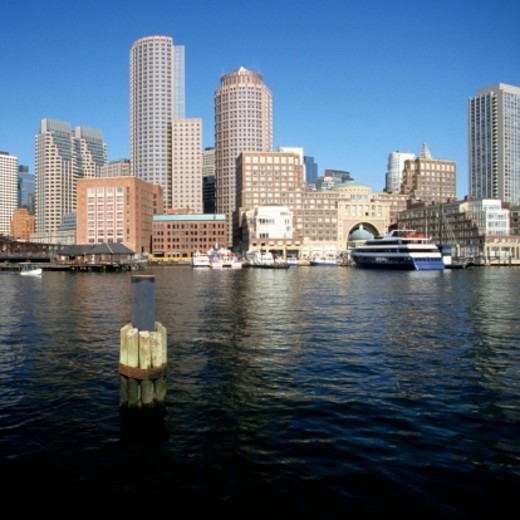Boston, Rowe's Wharf and skyline, Massachusetts : Stock Photo