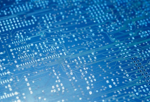 Stock Photo: 1672R-5805 Electronic circuit board, close-up, full frame