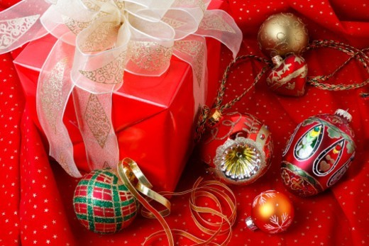 Stock Photo: 1672R-58072 Red Christmas gift with ornaments