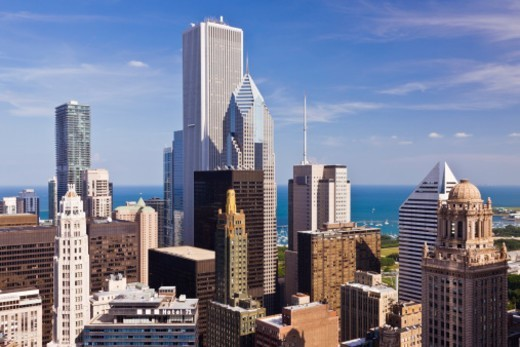 Chicago Skyline Looking towards lake Michigan : Stock Photo