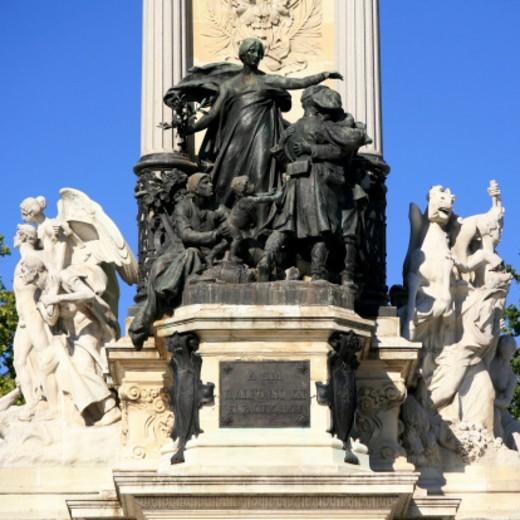 Parque Del Buen Retiro, Statue, Alfonso XII Monument : Stock Photo