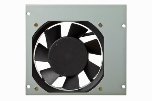 Sheet metal housing of the computer power Supply with pc ventilator, isolated on white, DFF image : Stock Photo