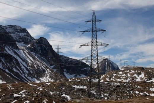 Stock Photo: 1672R-58435 High voltage power lines traverse high mountains