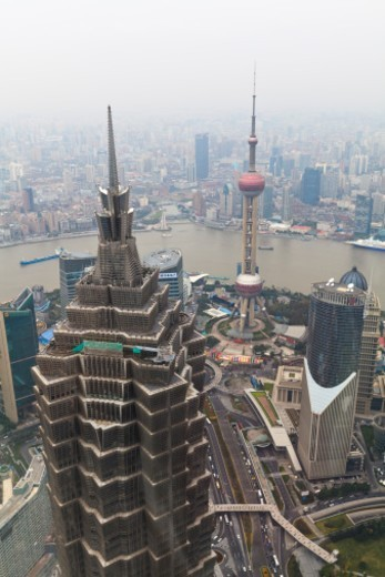 High angle view of Shanghai and Huangpu river from Shanghai World Financial Centre, with Jin Mao Tower and Oriental Pearl Tower, Shanghai, China : Stock Photo