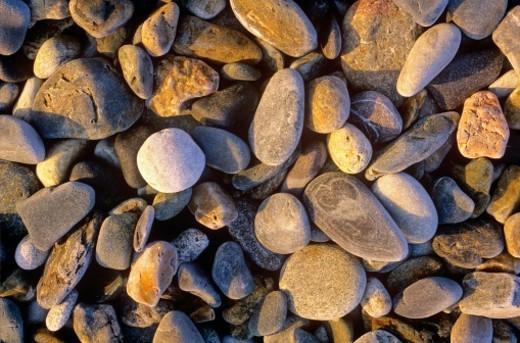 Beach stones in Acadia National Park. Bar Harbor, Maine : Stock Photo