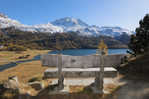 Mountains in snow at autumn. Lake Silvaplana, St. Moritz, Silvaplanersee, Maloja District, Engadin, Engadine, Graubunden Canton, Grisons, Switzerland, Alps. : Stock Photo