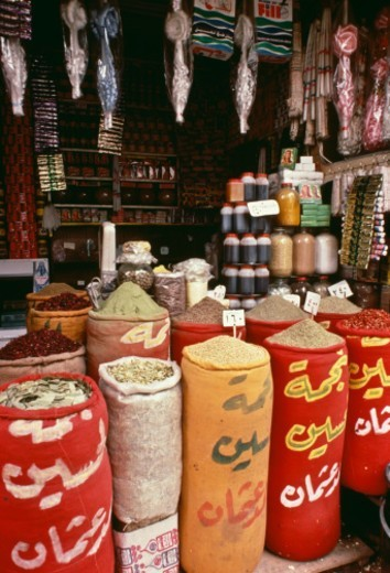 Stock Photo: 1672R-59589 Khan el-Khalili (Arabic: ??? ????????) is a major souk in the Islamic district of Cairo. The bazaar district is one of Cairo's main attractions for tourists and Egyptians alike