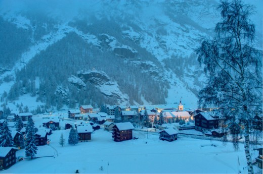 Taesch 9 village under snow Valais Switzerland : Stock Photo