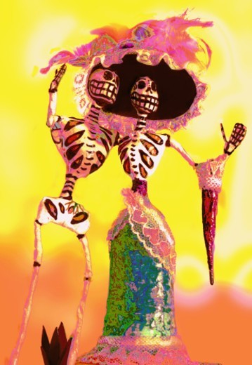 Two skeletons having a good time dancing : Stock Photo