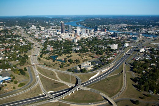 Stock Photo: 1672R-61669 Aerial views  of downtown Little Rock, Arkansas showing the Arkansas River