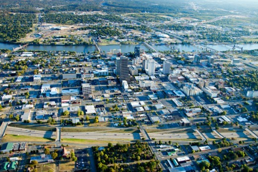 Aerial views  of downtown Little Rock, Arkansas showing the Arkansas River : Stock Photo
