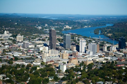 Stock Photo: 1672R-61682 Aerial views  of downtown Little Rock, Arkansas showing the Arkansas River