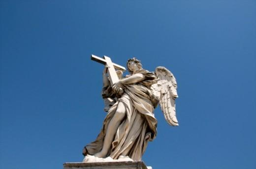 Stock Photo: 1672R-61741 Statue on Ponte Sant'Angelo bridge. Rome
