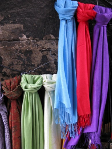 Stock Photo: 1672R-61792 Pashminas, Corlulu Ali Pasha Courtyard, Istanbul