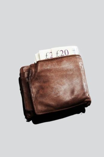 Wallet Full of Twenty Pound Notes : Stock Photo