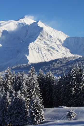 Stock Photo: 1672R-62394 view of Mont Blanc from Megeve