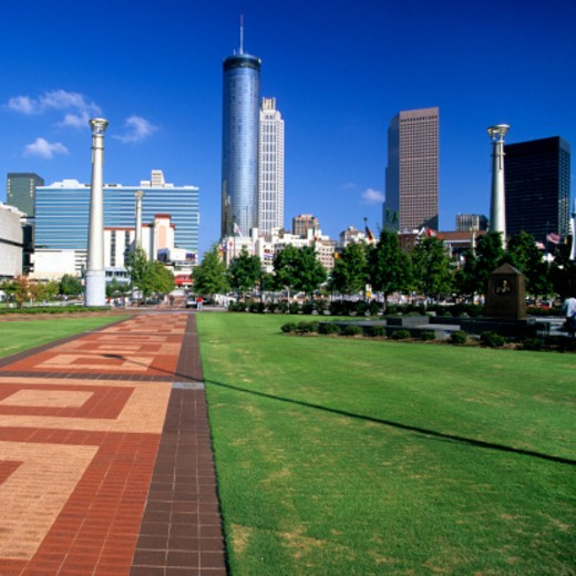Centennial Olympic Park and Skyline, Atlanta, GA : Stock Photo