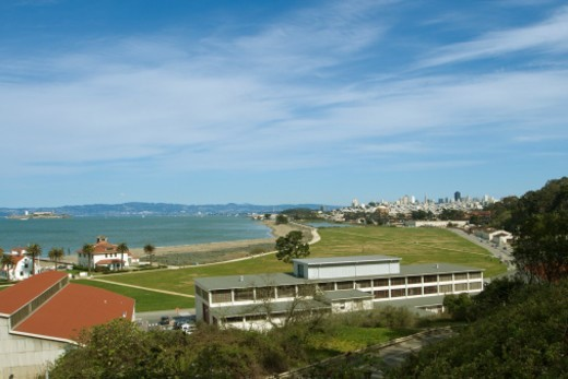 San Francisco skyline & bay, including Crissy Field and Alcatraz. : Stock Photo