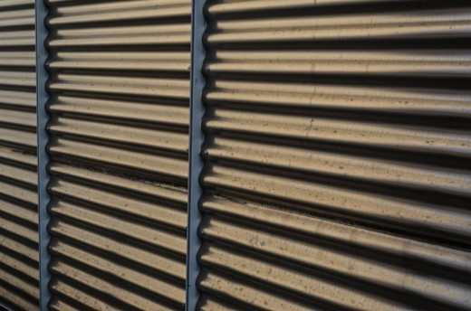 Corrugated metal fence : Stock Photo