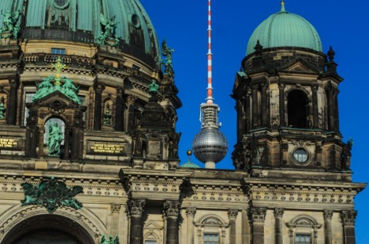 Berliner Dom (cathedral) with TV Tower behind : Stock Photo
