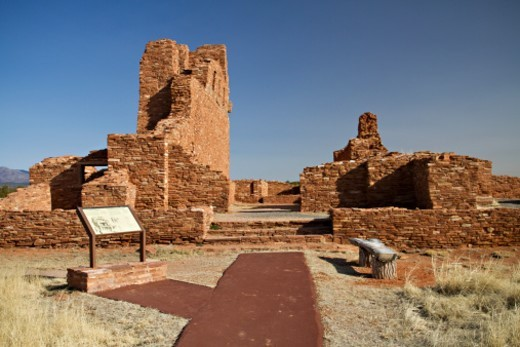 Pueblos of the Salinas Valley are ruins that are over 300 years old in New Mexico. : Stock Photo