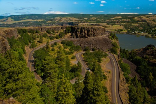 Stock Photo: 1672R-63253 The Rowena Loops, a section the the old, original Columbia River Gorge Highway, near the town of Rowena in the Columbia River Gorge National Scenic Area.