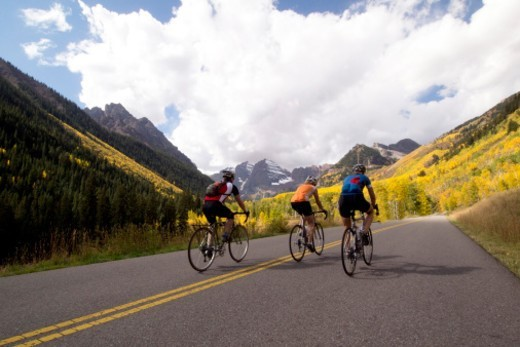 Riding on a road closed to cars. : Stock Photo
