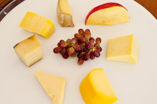 Cheese and fruit platter : Stock Photo