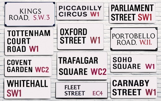 Stock Photo: 1672R-64645 London street signs