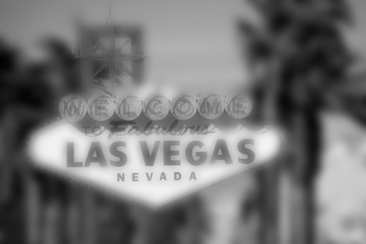 The sign that welcomes you as you enter town on Las Vegas Boulevard, Las Vegas, Nevada. : Stock Photo