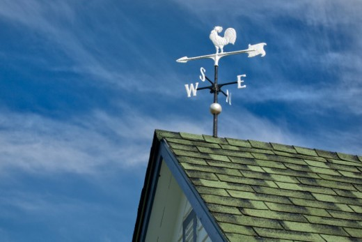 Stock Photo: 1672R-64950 White rooster weather vane against blue sky