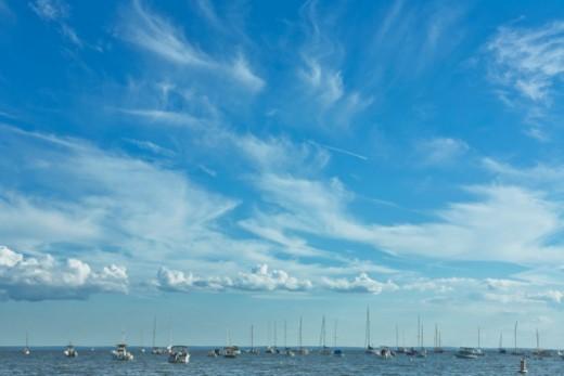 Boats on the ocean near Darien, CT : Stock Photo