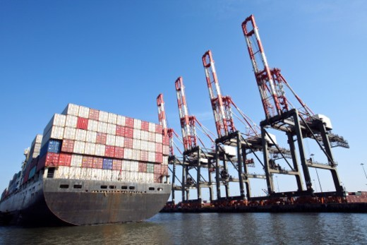 Container ship docking, Port of Newark : Stock Photo