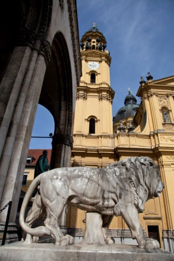 Stock Photo: 1672R-66197 Theatinerkirche at Odeonsplatz, Munich