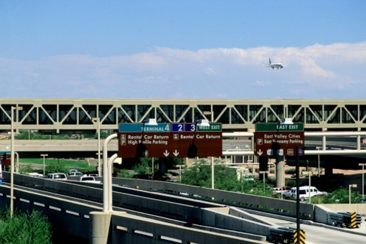 Aircraft over Phoenix Sky Harbor airport : Stock Photo