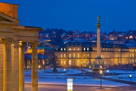 The K?oenigsbau building, Neues Schloss building and New Castle, in Schlossplatz square, Stuttgart, in winter. : Stock Photo
