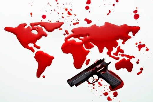 Stock Photo: 1672R-66755 Handgun and the world drawn in blood