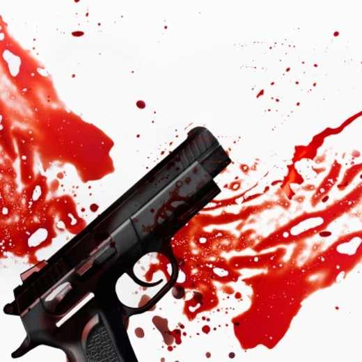 Stock Photo: 1672R-66756 Handgun and splattered, smeared blood