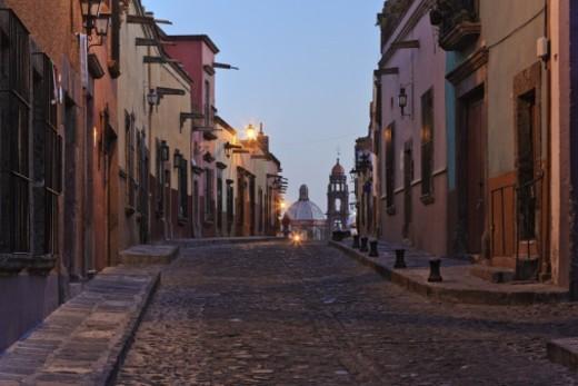 Cobblestone street at dawn, San Miguel de Allende : Stock Photo