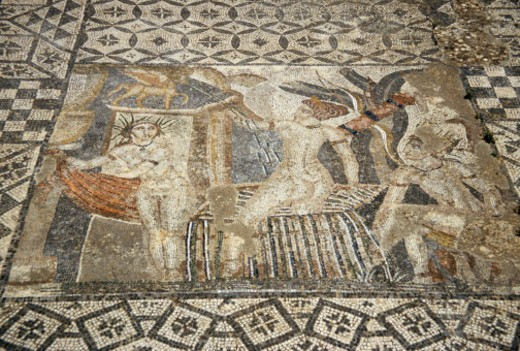 Stock Photo: 1672R-67045 Romam mosaic of Diana and maids bathing