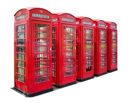 Stock Photo: 1672R-67674 Red telephone boxes against a white background