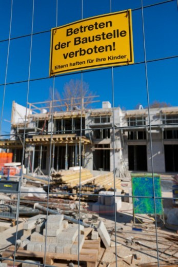 Stock Photo: 1672R-67735 'Keep off the building site', Germany