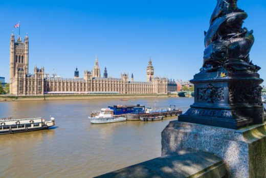 The Palace of Westminster and Houses of Parliament across the River Thames, London. : Stock Photo