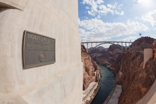 The Mike O'Callaghan ? Pat Tillman Memorial Bridge, a concrete arched bridge spanning the Colorado River between the states of Arizona and Nevada. : Stock Photo