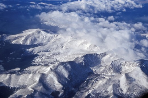 Aerial view of the Himalayan Mountain range : Stock Photo