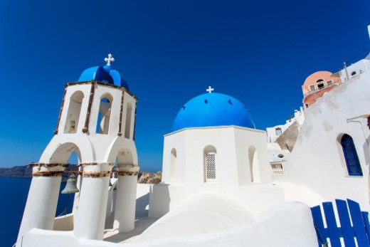 Stock Photo: 1672R-69520 blue domed churches, Oia, Santorini, Greece