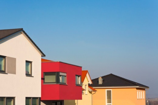 house,  roof, facade, coloured, to room, new building, detached house, family home : Stock Photo