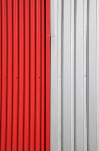 Stock Photo: 1672R-71878 Red and white metal Siding